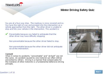 Travelers Winter Driving Safety, Asset Security, Inc Insurance